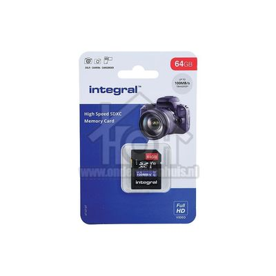 Foto van Integral Memory card High Speed, Class 10 V10 SDHC card 64GB 100MB/s INSDX64G-100V10