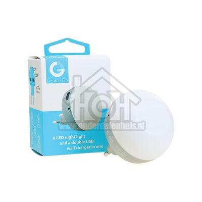 Grab 'n Go Oplader Led nachtlamp met 2 USB poortjes 2.1a Grijs GNG188