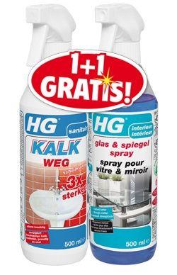 HG Reiniger HG kalkweg 1+1 gratis Met gratis fles Glas & Spiegel spray 80550000200