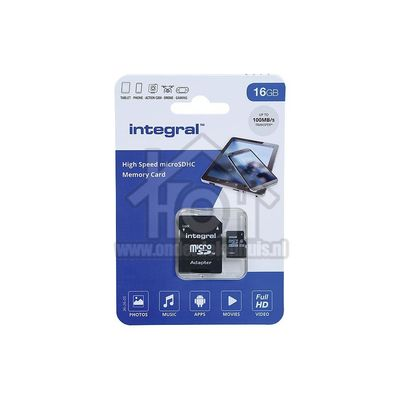 Integral Memory card High Speed, Class 10 (incl.SD adapter) Micro SDHC card 16GB 100MB/s