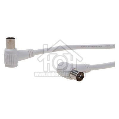Easyfiks Antenne Kabel Coax, Haaks, IEC Male - IEC Contra Female 1.2 Meter, Dubbel