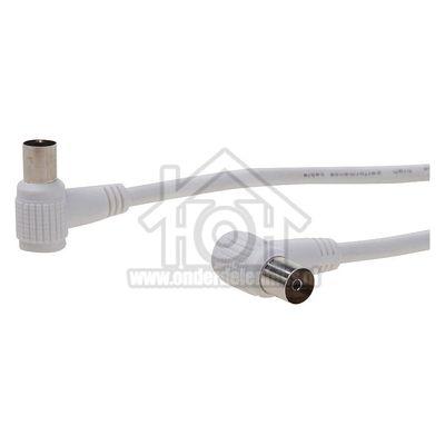 Easyfiks Antenne Kabel Coax, Haaks, IEC Male - IEC Contra Female 2.5 Meter, Dubbel