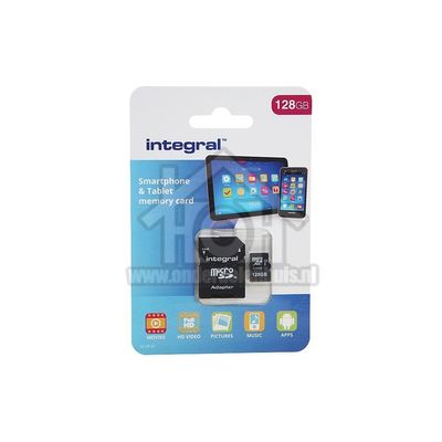 Foto van Integral Memory card Smartphone & Tablet, Class 10 (incl.SD adapter) Micro SDXC card 128GB