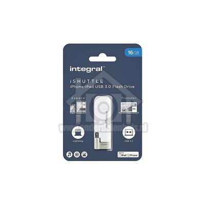 Foto van Integral Memory stick iShuttle, Lightning Flash Drive USB 3.0, 16GB INFD16GBISHUTTLE