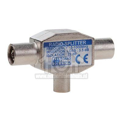 Easyfiks Coax Splitter IEC Male - 2x IEC Contra Female Radio Splitter, 2-Weg, Metaal