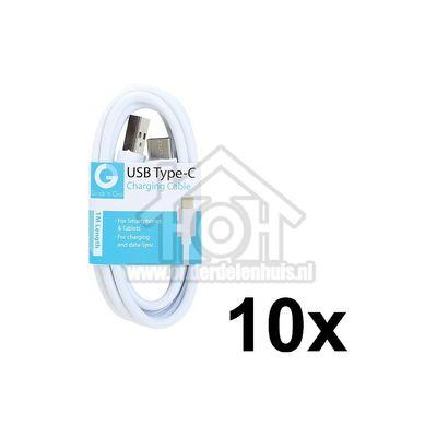 Grab 'n Go USB Kabel USB Type C male naar USB Type A male, Wit 1m Universeel Micro USB GNG137