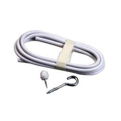 Gordijnspiraalgarnituur Senior wit met stiftje ijzer + bevestiging 2,5mtr zak a 2 paar