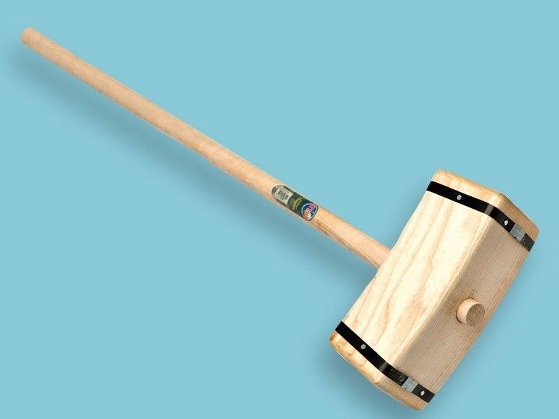 Houten sleg / tuinhamer vierkant met 110cm steel