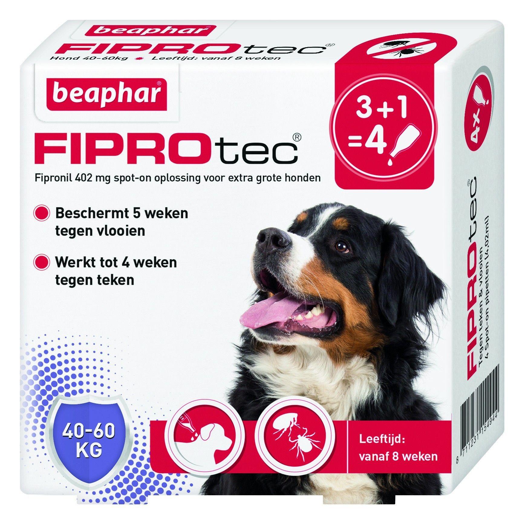 Beaphar Fiprotec hond vlooien/teken 40-60kg 4 pipet