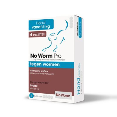 Foto van No Worm Pro wormtabletten hond 4 stuks