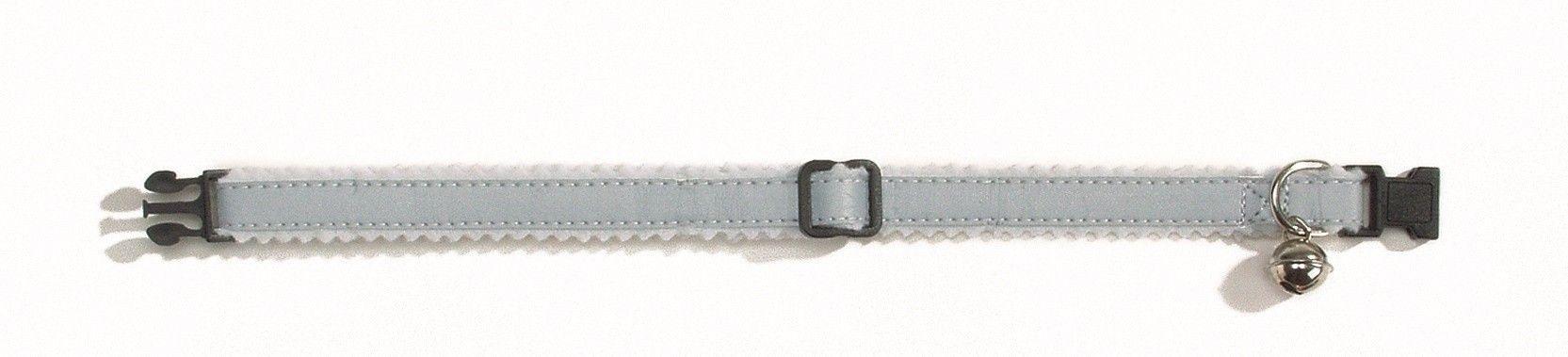 Kattenhalsband reflecterend nylon Beeztees grijs-wit