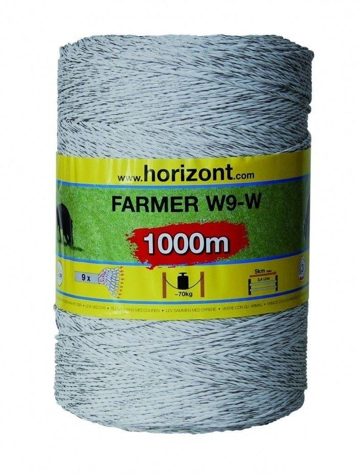 Schrikdraad Horizont Farmer 9 RVS wit 1000mtr