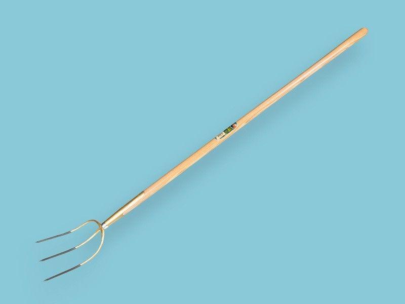 Hooivork Offner brons 3 tands met 135cm essen knopsteel