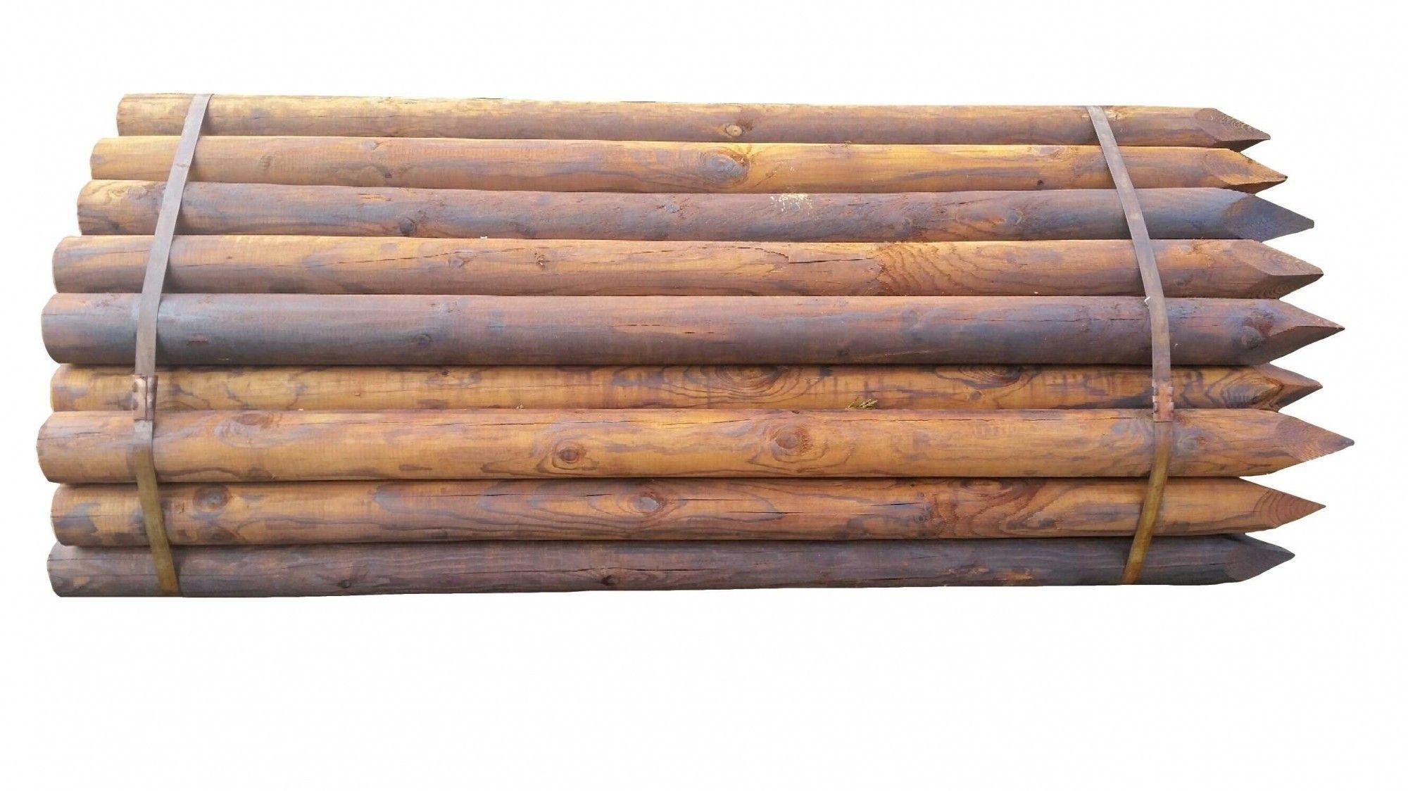 Houten paal Gecreosoteerd 140 x 7.5cm rond gefreesd