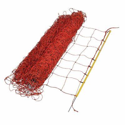 Foto van Schapennet / afrasteringsnet oranje 90 cm x 50 mtr enkele grondpen 2 stuks