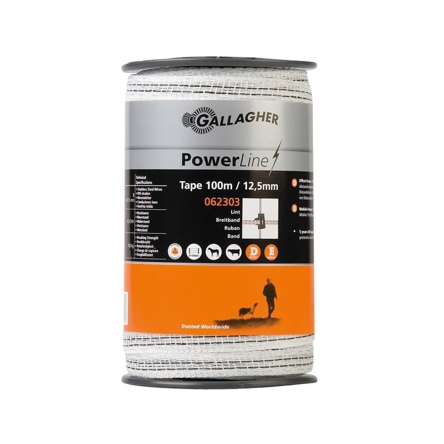 Schriklint Gallagher PowerLine 12,5mm wit 100mtr