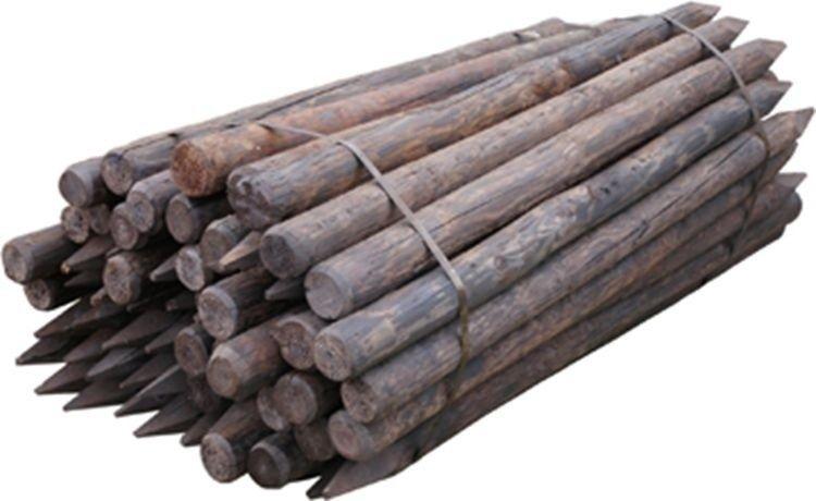 Houten paal rond Gecreosoteerd 160 x 7cm geschild