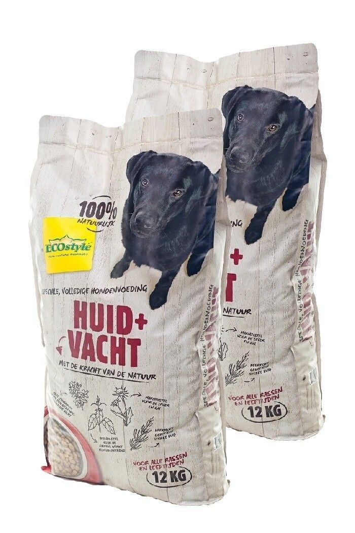 Ecostyle hondenvoer Huid en Vacht duopack 2x12kg