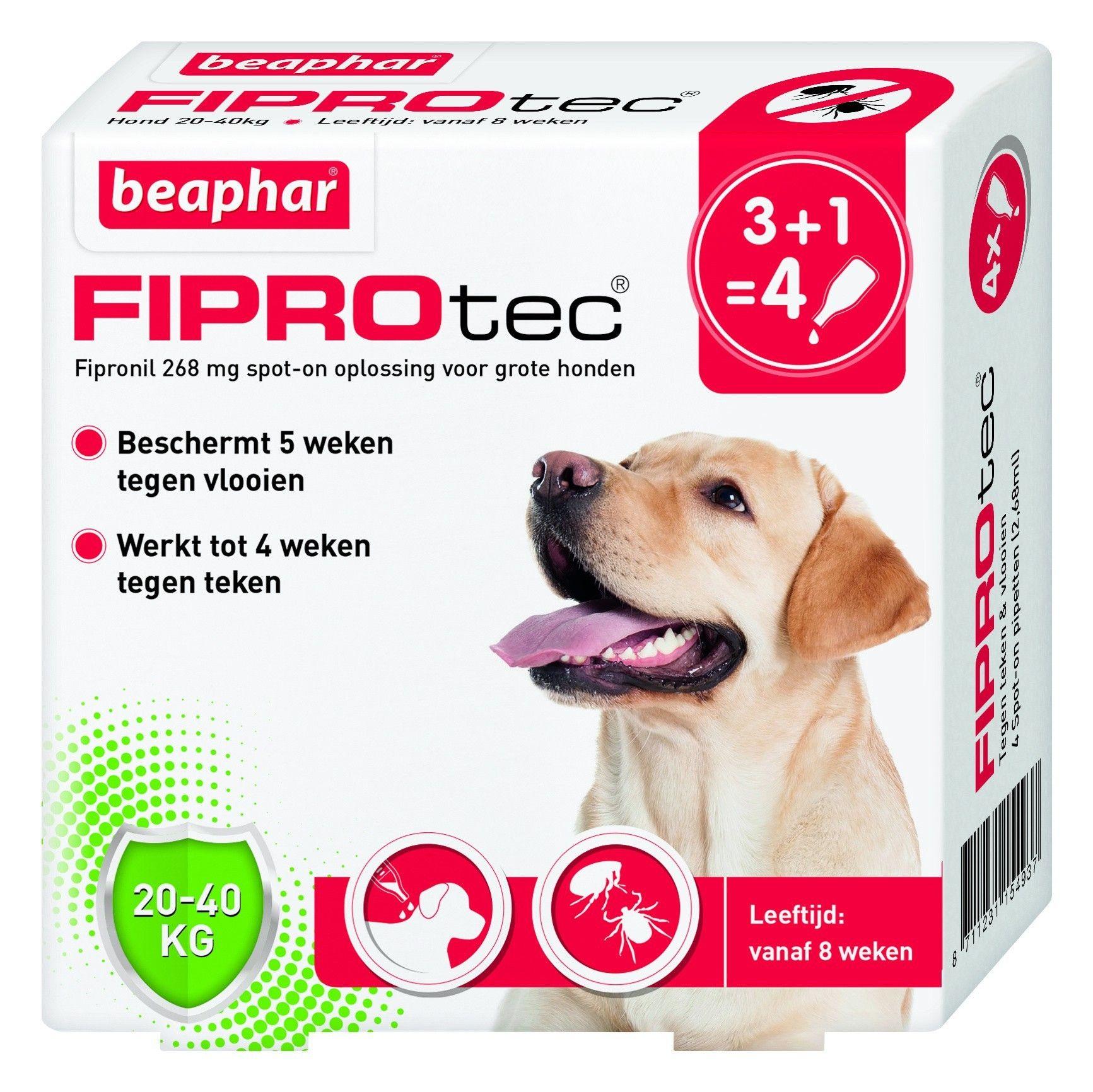 Beaphar Fiprotec hond vlooien/teken 20-40kg 4 pipet
