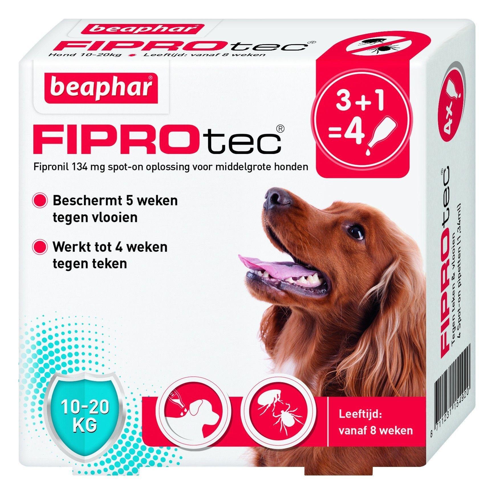 Beaphar Fiprotec hond vlooien/teken 10-20kg 4 pipet