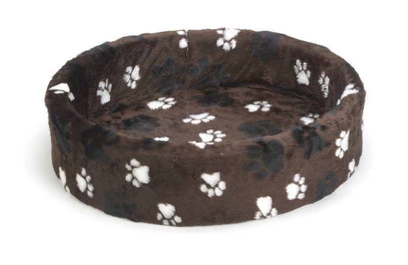 Beeztees hondenmand / teddymand voetprint bruin