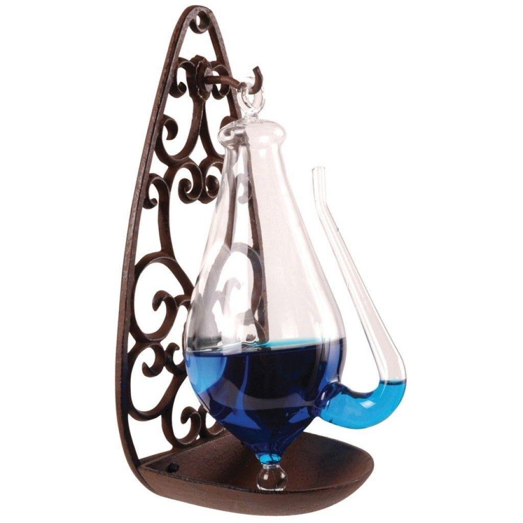 Donderglas (barometer) met gietijzeren houder