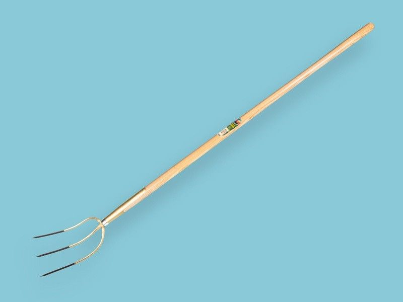 Hooivork Offner brons 3 tands met 150cm essen knopsteel