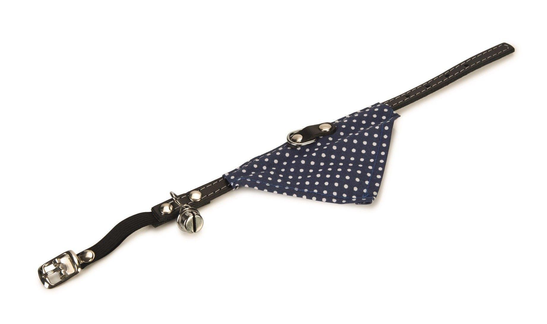Kattenhalsband blauw met doekje en belletje