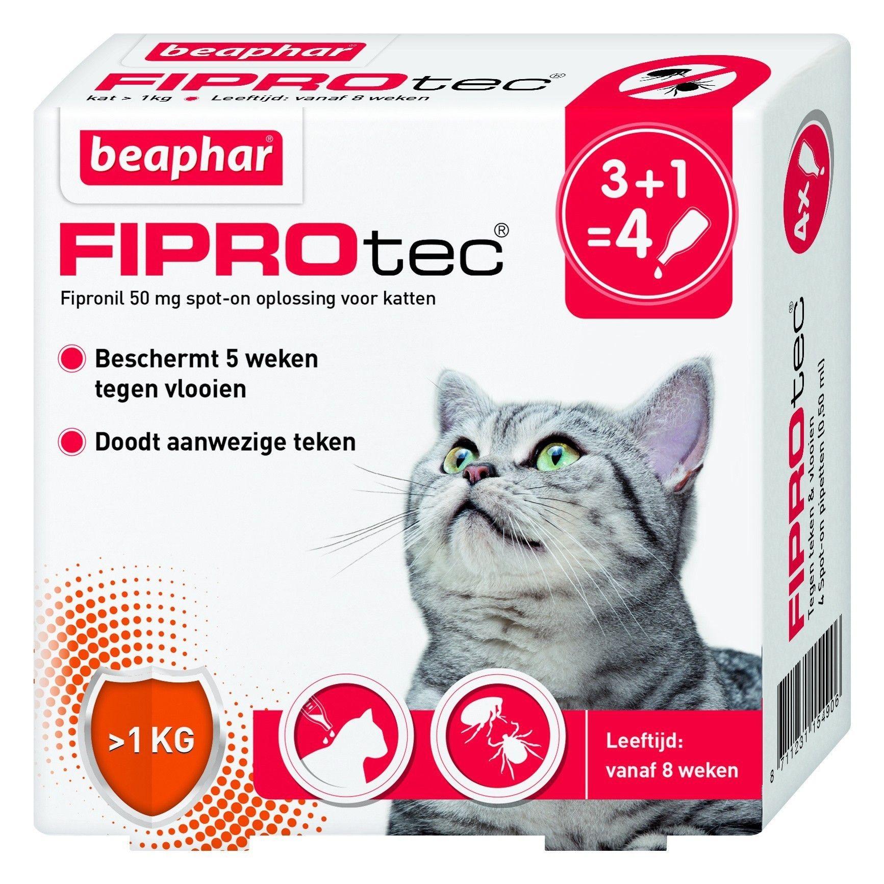 Beaphar Fiprotec kat vlooiendruppels 4 pipet