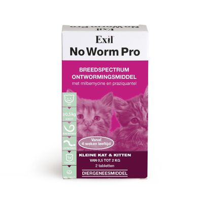 No Worm Pro wormtabletten voor kleine katten en kittens 2 stuks
