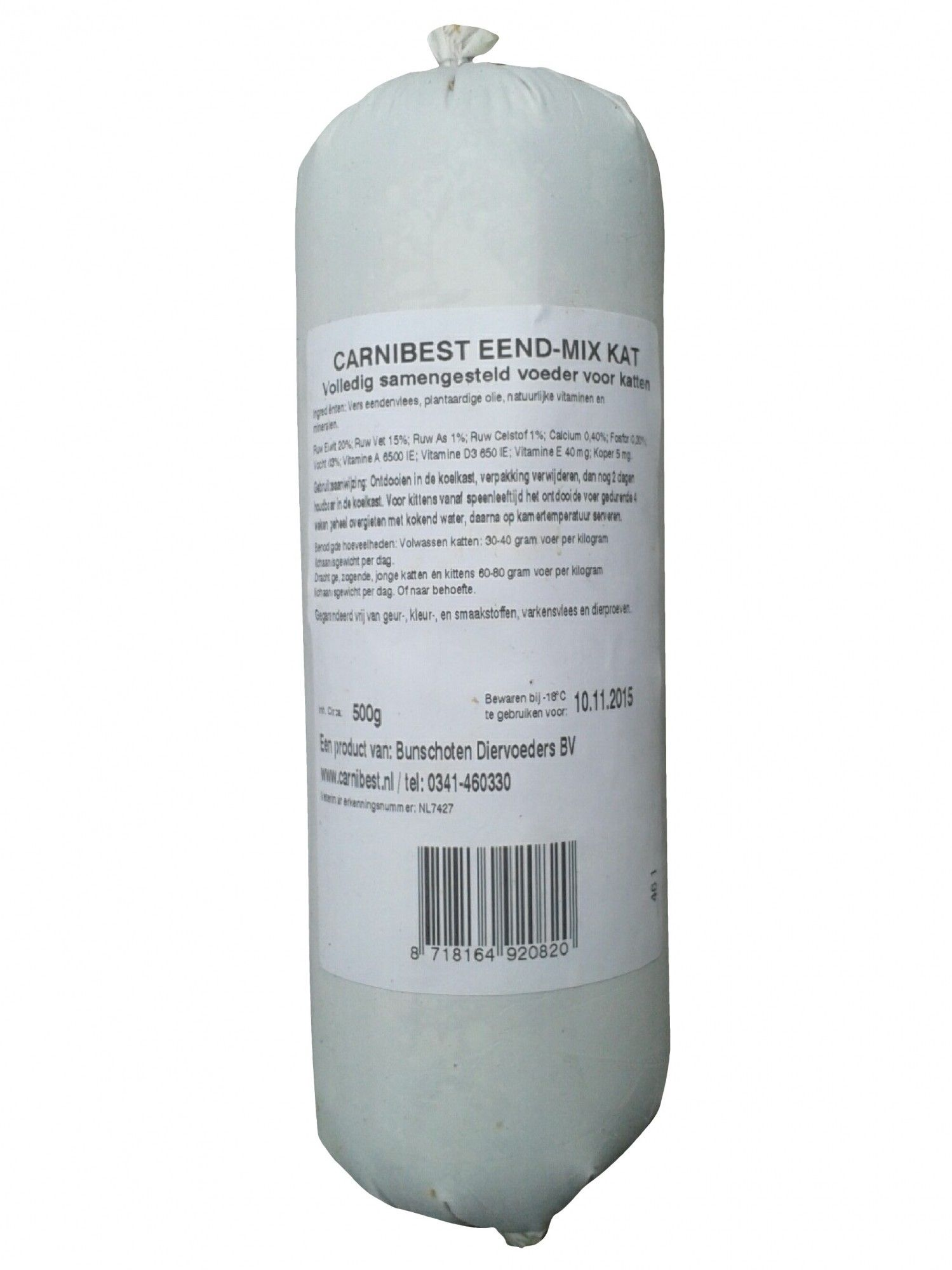 Carnibest vers vlees kat Eend Mix 500gr