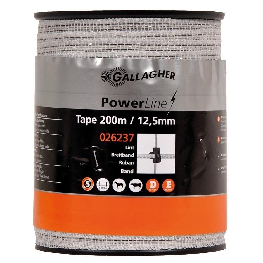 Schriklint Gallagher PowerLine 12,5mm wit 200mtr