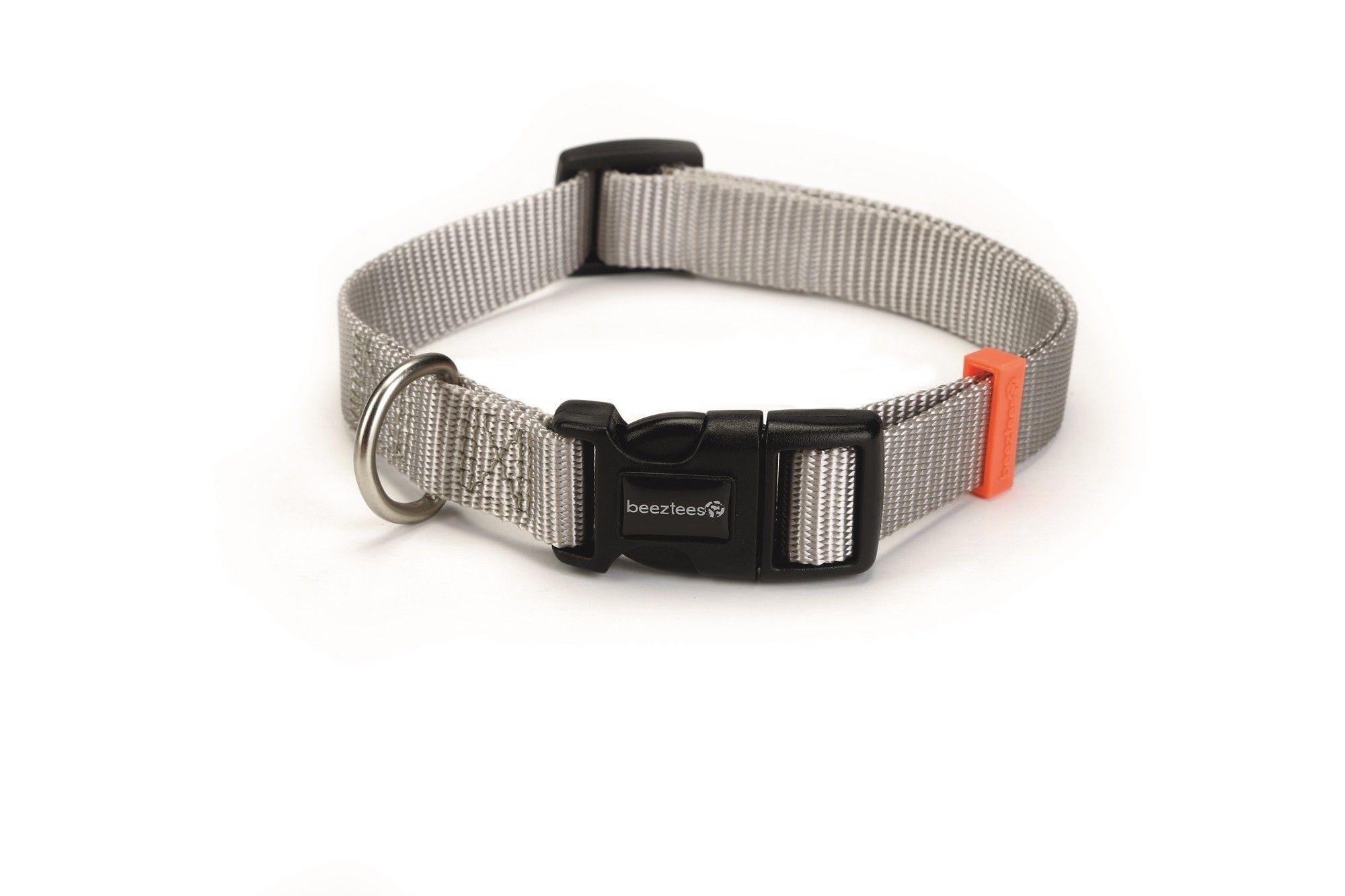 Hondenhalsband Uni nylon Beeztees lichtgrijs