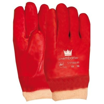 Werkhandschoen PVC rood tricotboord gesloten rug