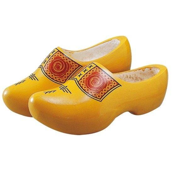 Houten klomp Brabant geel