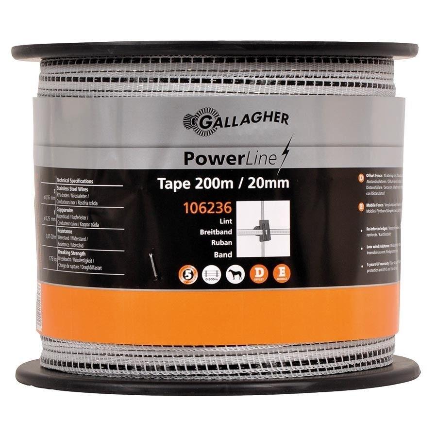 Schriklint Gallagher PowerLine 20mm wit 200mtr