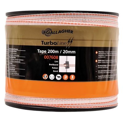 Schriklint Gallagher TurboLine 20mm wit 200mtr