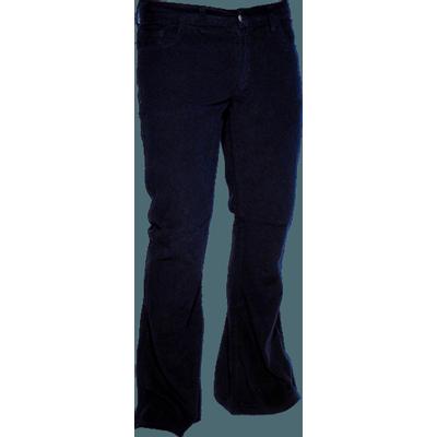 Ribcord retro broek wijdepijp normale lengte Navy blauw