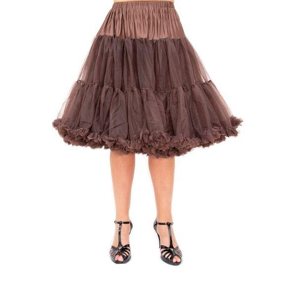 Petticoat Starlite over de knie met extra volume, chocolate brown