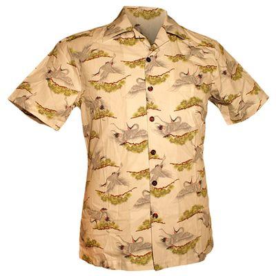 Foto van Chenaski | Overhemd korte mouw, Kraanvogels creme