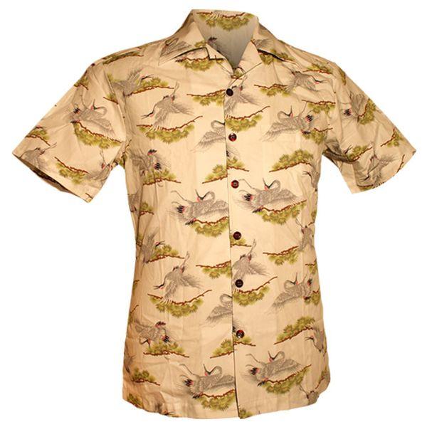 Chenaski | Overhemd korte mouw, Kraanvogels creme