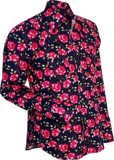 Overhemd Cowboy, Flowers, navy roze
