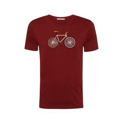 Foto van Green Bomb | T-shirt bordeaux rood Bike Easy, bio katoen