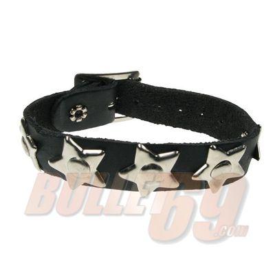 Foto van Bullet69 | Leren armband met grote zilveren sterren en rivet