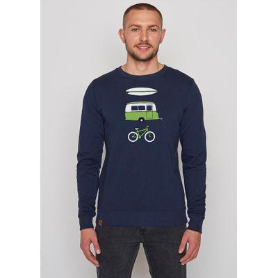 Foto van Green Bomb | Trui sweater Nature Fun, navy blauw bio katoen