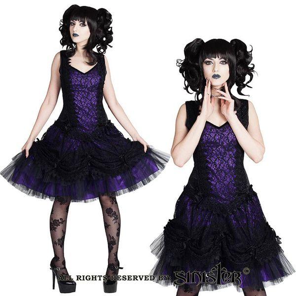 Sinister - Jurk Adelina kort, met sweetheart halslijn, zwart paars