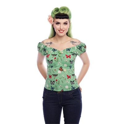 Collectif | Top Dolores Butterfly groen