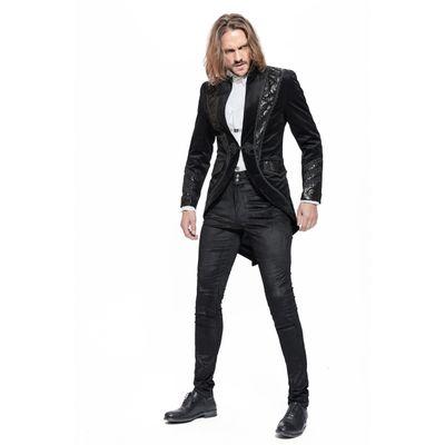 Foto van Pentagramme | Fluwelen Gothic Jacquet jas met sierbiezen