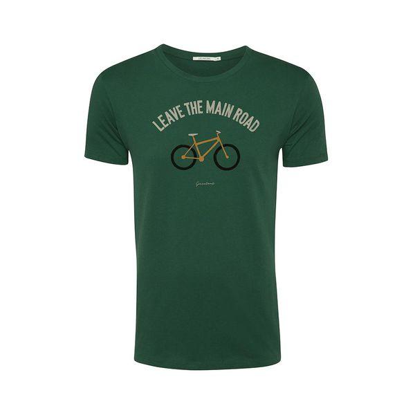 Green Bomb   T-shirt bottle green Bike leave road, bio katoen