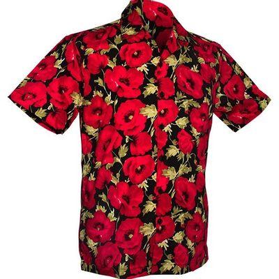 Foto van Chenaski | Overhemd korte mouw, Poppy, black red
